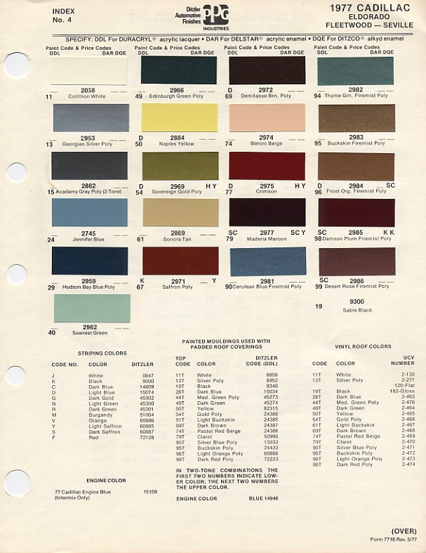 1977 Cadillac Seville Paint Colors